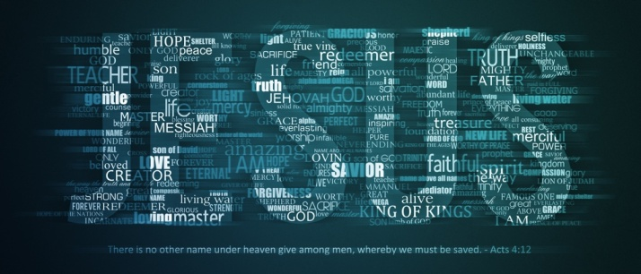 The word JESUS with many other descriptive words