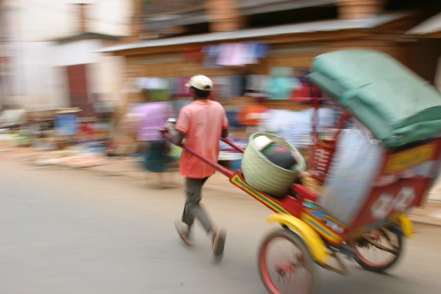 Rickshaw driver in Madagascar
